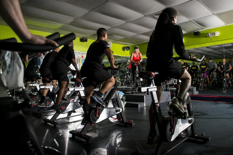 U.S. Army Reserve Soldiers from the 200th Military Police Command participate in a Spin class during a Performance Triad program organized by the command and hosted on Fort Meade, Maryland, May 9, 2017. The three-week fitness program took place from May 5-25 to help Soldiers who had either failed the Army Physical Fitness Test or had been on the Army Body Fat Composition program. The camp focused on the triad of overall health: physical fitness, nutrition and sleep, by providing education and personalized coaching to Soldiers in all three of those phases of life and more. (U.S. Army Reserve photo by Master Sgt. Michel Sauret)