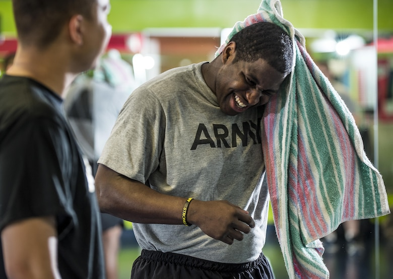 Spc. Coulter Brandon, a U.S. Army Reserve Soldier from the 200th Military Police Command, dries off after a shower during a Performance Triad program organized by the command and hosted on Fort Meade, Maryland, May 9, 2017. The three-week fitness program took place from May 5-25 to help Soldiers who had either failed the Army Physical Fitness Test or had been on the Army Body Fat Composition program. The camp focused on the triad of overall health: physical fitness, nutrition and sleep, by providing education and personalized coaching to Soldiers in all three of those phases of life and more. (U.S. Army Reserve photo by Master Sgt. Michel Sauret)