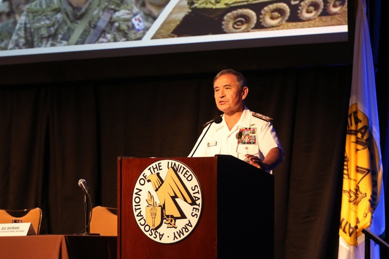 Admiral Harry B. Harris Jr., commander of United States Pacific Command (USPACOM), speaks to attendees of the Land Forces Pacific (LANPAC) Symposium, May 24, 2017 at the Sheraton Waikiki in Honolulu, HI. During the three-day event, U.S. Army leaders, alongside joint and regional partners, discuss and showcase the critical role of Pacific land forces.