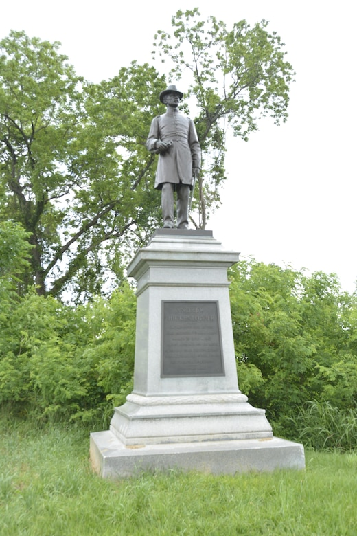 Capt. Andrew Hickenlooper served as chief engineer of the XVII Corps during the campaign and directed approach and mining operations along the Jackson road aimed at Third Louisiana Redan. He is honored by this statue on the grounds of Vicksburg National Military Park.