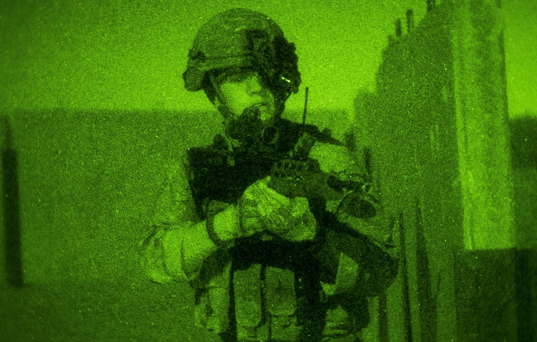 A Royal Marine Commando pulls security during Angel Thunder 17 in Florence, Ariz, May 11, 2017. Angel Thunder is a two-week, Air Combat Command-sponsored, joint certified and accredited personnel recovery exercise focused on search and rescue. The exercise is designed to provide provide training for personnel recovery assets using a variety of scenarios to simulate deployment conditions and contingencies. (U.S. Air Force photo/Staff Sgt. Sean Martin)