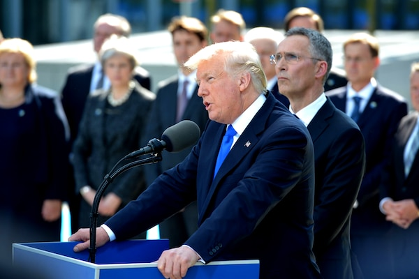 President Donald J. Trump gives remarks during the unveiling of the 9/11-Article 5 Memorial in Brussels, May 25, 2017. NATO photo