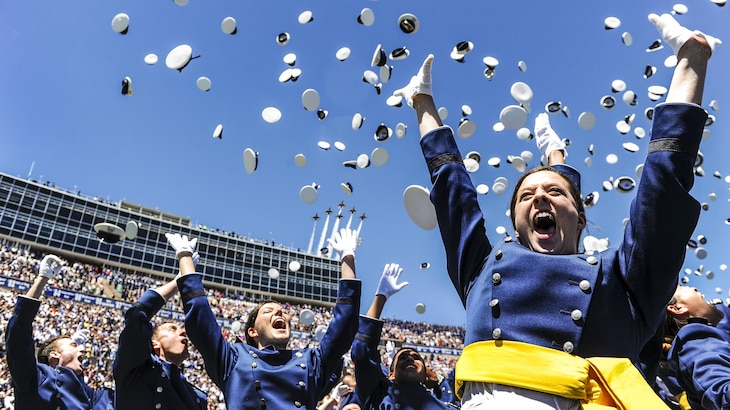 Air Force second lieutenants celebrate during their graduation ceremony at the Air Force Academy in Colorado Springs, Colo., May 24, 2017. Air Force photo by Tech. Sgt. Julius Delos Reyes