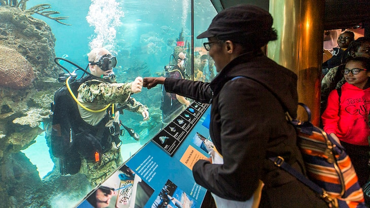 Navy Petty Officer 1st Class Sean Dargie connects with a visitor at the New York Aquarium during the 29th annual Fleet Week New York, May 24, 2017. Navy photo by Petty Officer 2nd Class Charles Oki