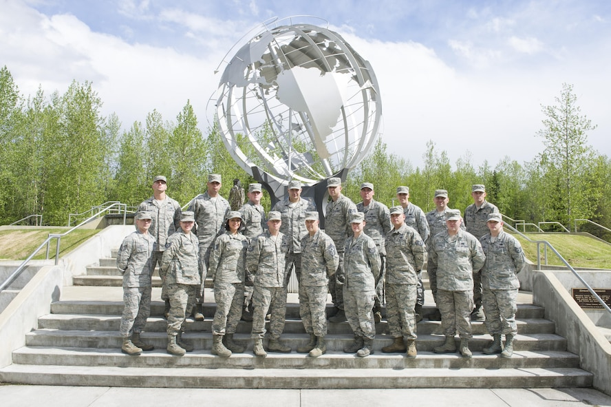 U.S. Air Force Chief Master Sgt. Brent Sheehan, the 354th Fighter Wing Command Chief, stands with the wing's newest Master Sergeant selects May 25, 2017, at Eielson Air Force Base, Alaska. This year the Air Force selected 5,166 Technical Sergeants for promotion to Master Sergeant of the 20,169 eligible. (U.S. Air Force photo by Airman 1st Class Isaac Johnson)