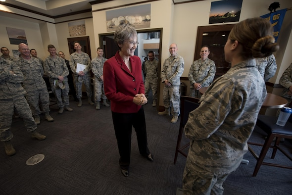 Secretary of the Air Force Heather Wilson engages with Airmen at the 16th Space Control Squadron during her first base visit as SECAF to Peterson Air Force Base, Colo., May 22, 2017. Wilson spent time meeting Airmen assigned to Air Force Space Command's only defensive space control unit. (U.S. Air Force photo by Airman 1st Class Dennis Hoffman)