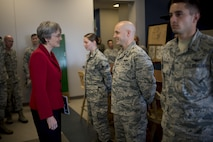 Secretary of the Air Force Heather Wilson speaks with 2nd Lt. Trevis Day, 4th Space Control Squadron crew commander, during her first base visit as SECAF to Peterson Air Force Base, Colo., May 22, 2017. Wilson met with Airmen who execute space control operations in support of Air Force Space Command and combatant commander priorities. (U.S. Air Force photo by Airman 1st Class Dennis Hoffman)