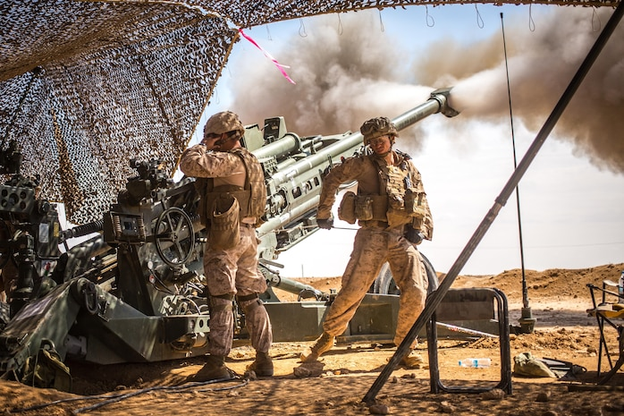 U.S. Marines with the 11th Marine Expeditionary Unit fire an M777 Howitzer during a fire mission in northern Syria as part of Operation Inherent Resolve, Mar. 24, 2017.  The unit provided 24/7 support in all weather conditions to allow for troop movements, to include terrain denial and the subduing of enemy forces. More than 60 regional and international nations have joined together to enable partnered forces to defeat ISIS and restore stability and security. CJTF-OIR is the global Coalition to defeat ISIS in Iraq and Syria.