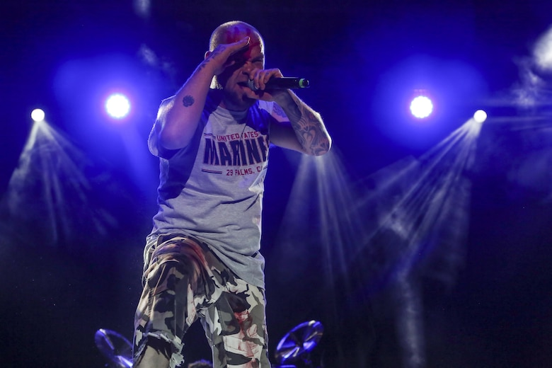 Ivan Moody, lead vocals, Five Finger Death Punch, performs for Combat Center patrons during the We Salute You Celebration at Lance Cpl. Torrey L. Gray Field aboard the Marine Corps Air Ground Combat Center, Twentynine Palms, Calif., May 19, 2017. Marine Corps Community Services hosted the event to provide entertainment to Marines and sailors aboard the Combat Center. (U.S. Marine Corps photo by Lance Cpl. Christian Lopez)