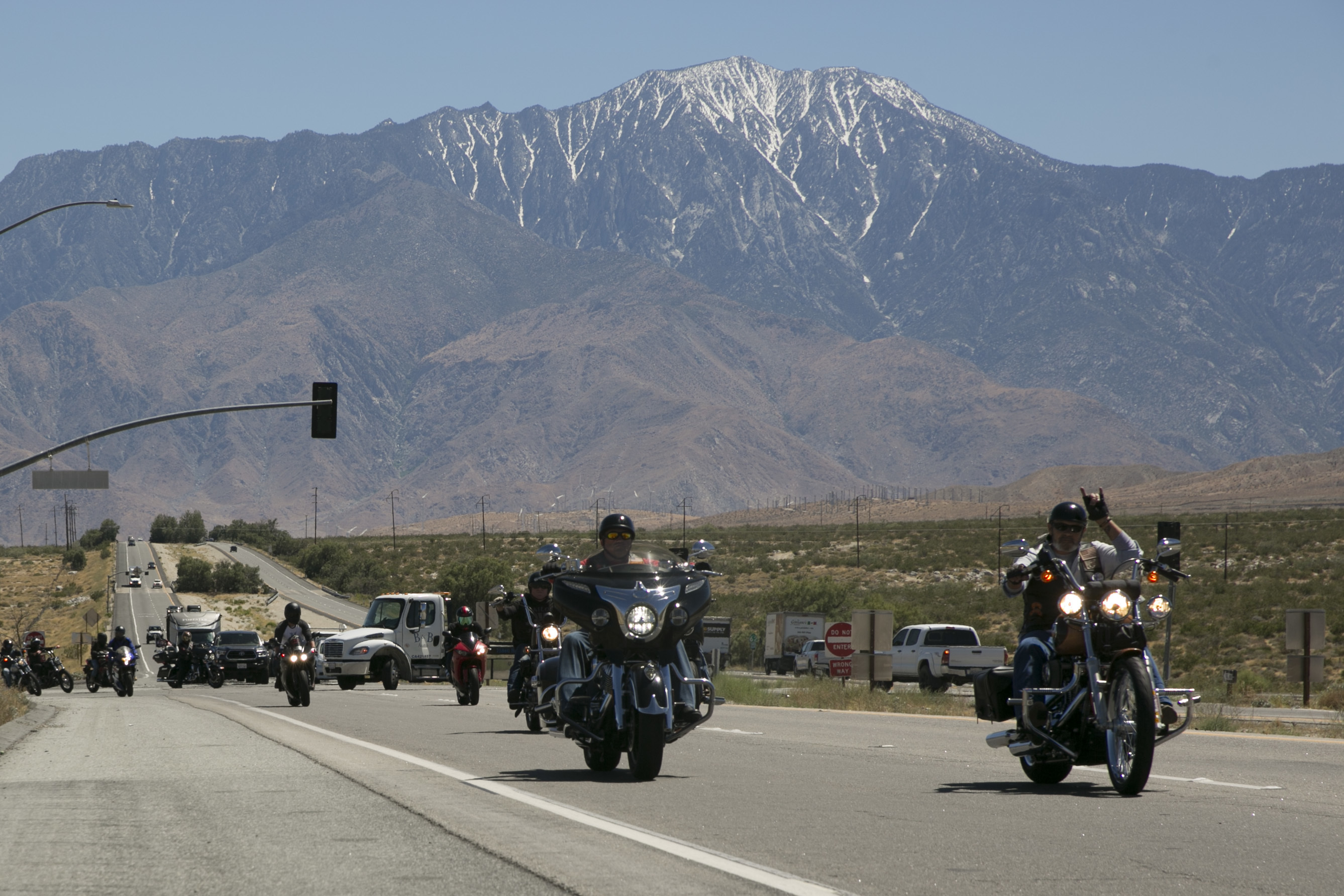 Combat Center riders drive down California Highway 62 during the Behavioral Health Branch