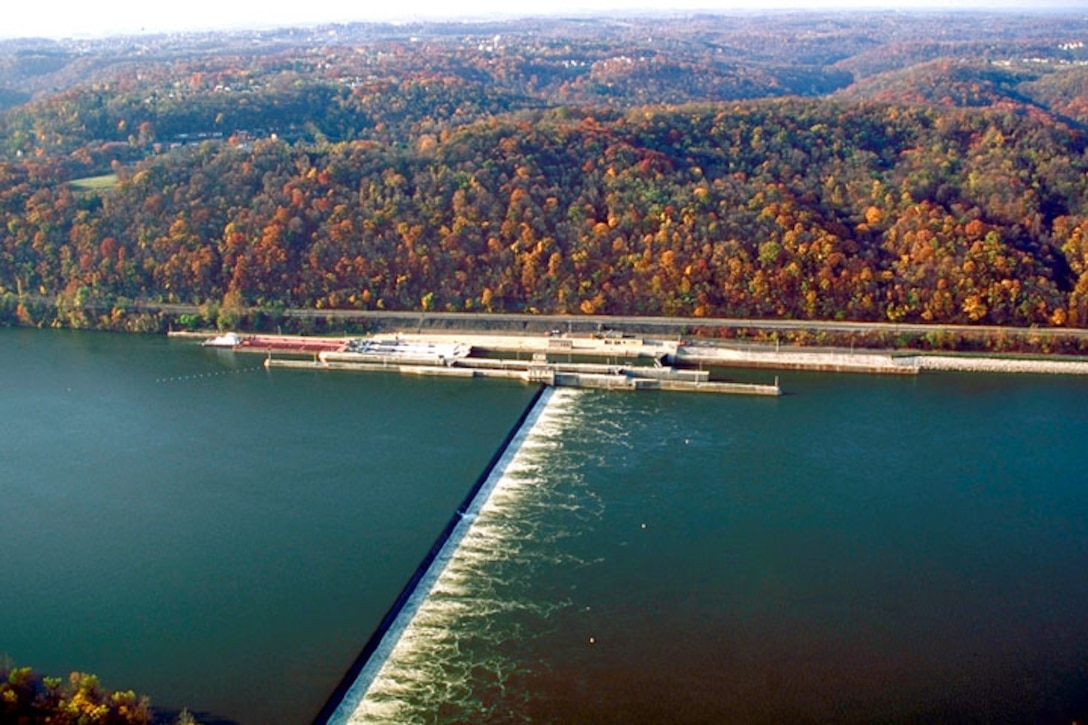 An aerial view of the Lock and Dam facility