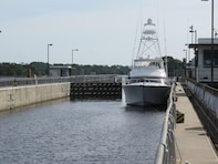 A boat enters the chamber at the W.P. Franklin Lock & Dam near Fort Myers, Fla. in October, 2016 while traveling on the Okeechobee Waterway.  The U.S. Army Corps of Engineers Jacksonville District is responsible for operations and maintenance of the 154-mile long waterway that connects the Gulf of Mexico with the Atlantic Ocean through the Caloosahatchee River, Lake Okeechobee, and the St. Lucie Canal.