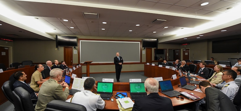Lewis Duncan, provost at U.S. Naval War College (NWC), gives opening remarks during a Freedom of Navigation and the Law of the Sea Workshop held at NWC, May 17, 2017. The purpose of the workshop is to develop a better understanding of international law concerning freedom of the seas, especially freedom of navigation and overflight for warships and military aircraft.