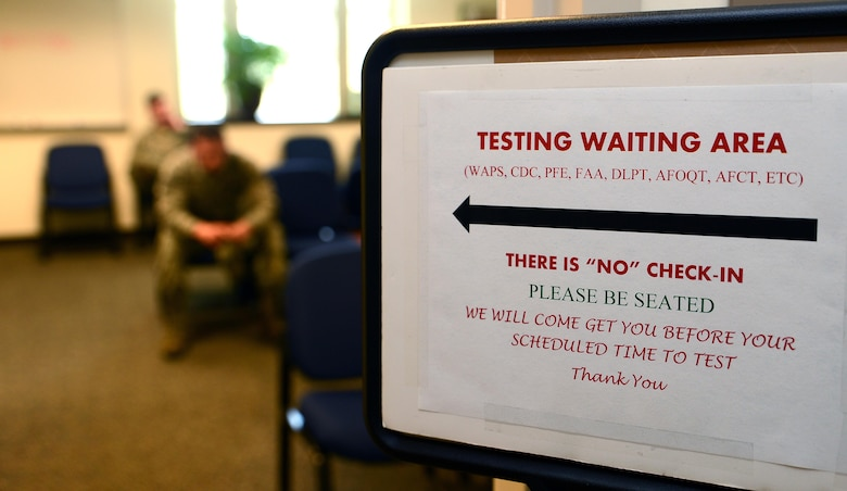 Team McChord Airmen wait to be tested at the McChord testing center in building 100, May 25, 2017, at Joint Base Lewis-McChord, Wash. The testing center is responsible for ensuring continuity of official test material and to ensure Airmen receive standardized testing. (U.S. Air Force photo/Senior Airman Jacob Jimenez)
