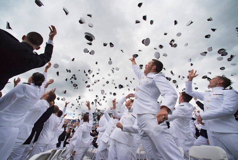 U.S. Naval Academy class of 2017 graduates celebrate at the end of the graduation and commissioning ceremony in Annapolis, Md., May 26, 2017. Photo courtesy of U.S. Naval Academy