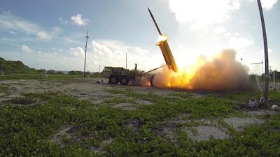 A Terminal High-Altitude Area Defense interceptor is launched from a THAAD battery on Wake Island, Nov. 1, 2015. Tthe THAAD system intercepted two air-launched ballistic-missile targets. Missile Defense Agency photo