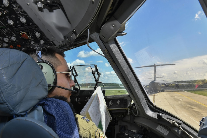 U.S. Air Force Capt. Rodrigo Vargas, 14th Airlift Squadron pilot, prepares for takeoff during a Large Formation Exercise here, May 25, 2017. The LFE tested the 437th and 315th AW's abilities to complete a joint forcible entry airdrop with the 82nd Airborne Division from Pope Army Airfield.