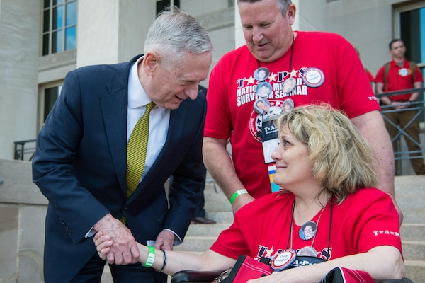 Defense Secretary Jim Mattis speaks with a member of the Tragedy Assistance Program for Survivors during the group's visit to the Pentagon, May 26, 2017. The Pentagon hosted the families for a day of fun and remembrance in honor of Memorial Day. DoD photo by Air Force Staff Sgt. Jette Carr