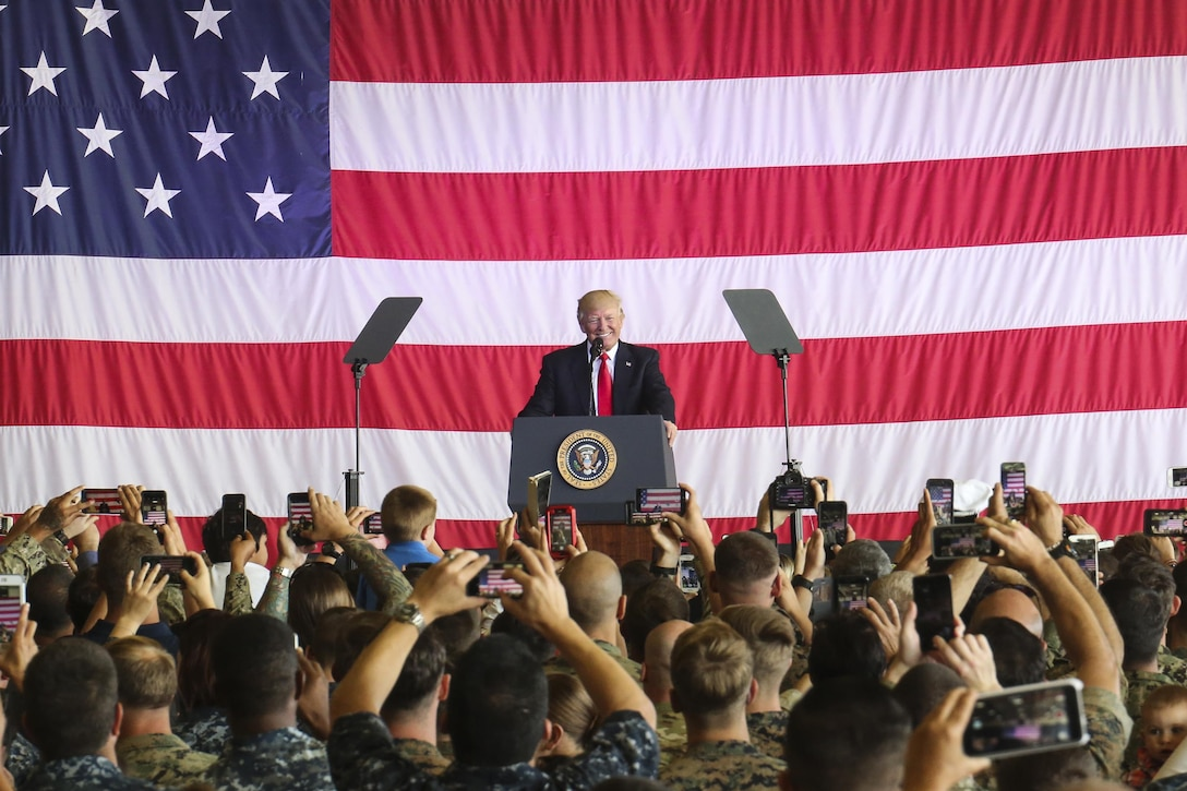 President Donald J. Trump speaks to U.S. service members and their families at Naval Air Station Sigonella, Italy, May 27, 2017. Trump traveled to Sicily to attend the G7 Summit and meet with world leaders. U.S. Marine Corps photo by Sgt. Samuel Guerra