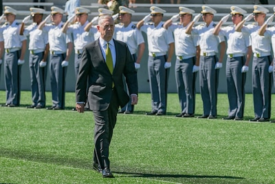 Mattis humbled by selfless diverse us military force us defense secretary jim mattis enters michie stadium before delivering the commencement address at the us military publicscrutiny Gallery