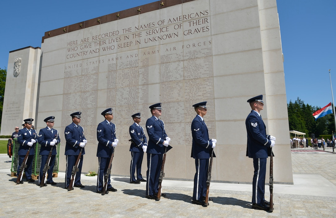 Members of the Spangdahlem Air Base Honor Guard prepare to perform a three volley salute during the Memorial Day Ceremony at the Luxembourg American Military Cemetary in Hamm, Luxembourg, May 27, 2017. Hundreds of military members and military supporters joined together to pay their respects to the men and women who lost their lives during World War II.
