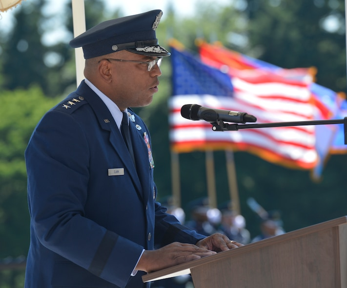 Lt. Gen. Richard Clark, 3rd Air Force commander, addresses the crowd during the Memorial Day Ceremony at the Luxembourg American Military Cemetery in Hamm, Luxembourg, May 27, 2017. The ceremony brought together military representatives and hundreds of supporters to recognize the sacrifices made by American service members in support of freedom abroad.