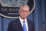 Defense Secretary Jim Mattis conducts a news conference at the Pentagon. DoD photo by Army Sgt. Amber I. Smith