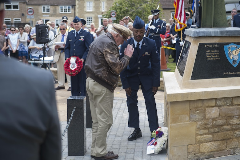 Douglas Ward, 305th Bombardment Group veteran, salutes a wreath at the memorial site of the 305th BG in Chelveston, England on May 27, 2017. Ward flew 20 combat missions from the Chelveston airfield during World War II. (U.S. Air Force photo by Senior Airman Joshua King)
