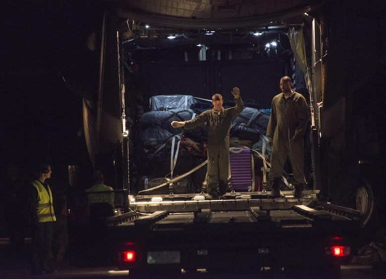 U.S. Air Force 1st Special Operations Squadron loadmasters unload cargo at Royal New Air Force Base Woodbourne, New Zealand on April 18, 2017. Members of the 353rd Special Operations Group increased military cooperation with the RNZAF partners during the fourth iteration of Exercise Teak Net, which took place April 15-18, 2017 at RNZAF Base Auckland and April 18-28, 2017 at RNZAF Base Woodbourne, New Zealand. (U.S. Air Force photo by Capt. Jessica Tait)