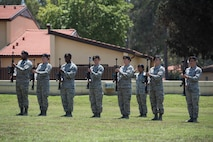 U.S. Airmen with the 39th Security Forces Squadron salute prior to a 21-gun salute during a Memorial Day ceremony May 26, 2017, at Incirlik Air Base, Turkey. Memorial Day honors the men and women who paid the ultimate sacrifice serving in the United States military. This marked the first joint service ceremony at Incirlik. (U.S. Air Force photo by Airman 1st Class Devin M. Rumbaugh)