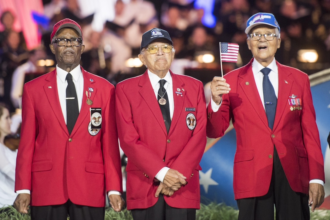 Tuskegee Airmen walk onstage during the National Memorial Day concert