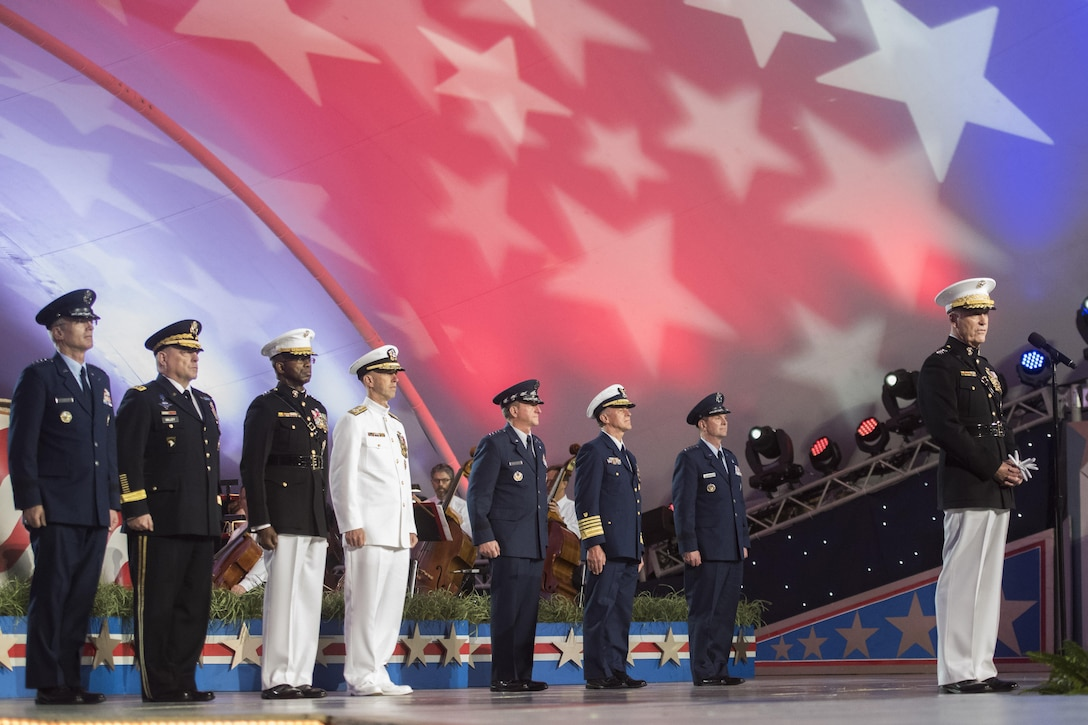 Marine Corps Gen. Joe Dunford, chairman of the Joint Chiefs of Staff, delivers remarks during the National Memorial Day concert