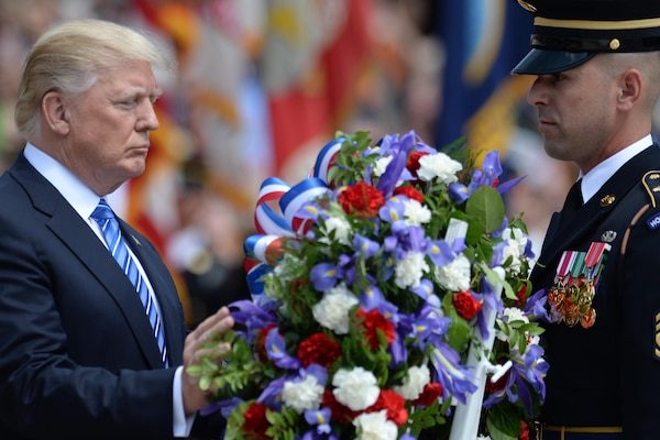 President Donald J. Trump lays a wreath at the Tomb of the Unknowns at Arlington National Cemetery in Arlington, Va., May, 29, 2017. DoD photo by EJ Hersom