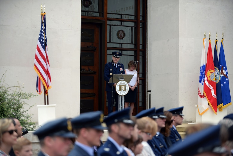 U.S. Air Force Maj. Gen. Timothy G. Fay, Headquarters U.S. Air Forces in Europe and Air Forces Africa director, operations, strategic deterrence and nuclear integration, speaks to an audience during the Madingley Memorial Day Ceremony May 29, 2017, at Madingley Memorial Cemetery in Cambridge, England. The event included a wreath laying, fly overs and a firing of volleys. (U.S. Air Force photo by Senior Airman Christine Groening)