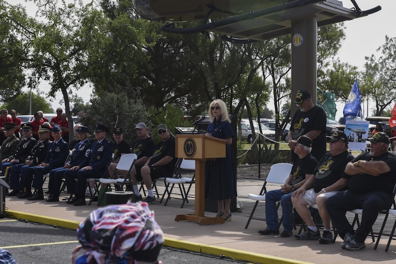 Brenda Gunter, San Angelo Mayor, gives a speech at the San Angelo Regional Airport, Texas, May 29, 2017. The speech was for a Memorial Day re-dedication ceremony honoring Vietnam and other fallen veterans. (U.S. Air Force photo by Airman 1st Class Chase Sousa/Released)
