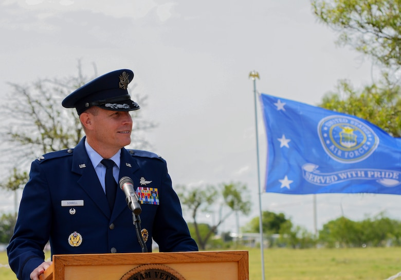 U.S. Air Force Col. Jeffrey Sorrell, 17th Training Wing Vice Commander, speaks at a re-dedication ceremony as part of Memorial Day at the San Angelo Regional Airport, Texas, May 29, 2017. The ceremony had guest speakers from Goodfellow Air Force Base, San Angelo Community and Vietnam Veterans of America. (U.S. Air Force photo/Robert D. Martinez)