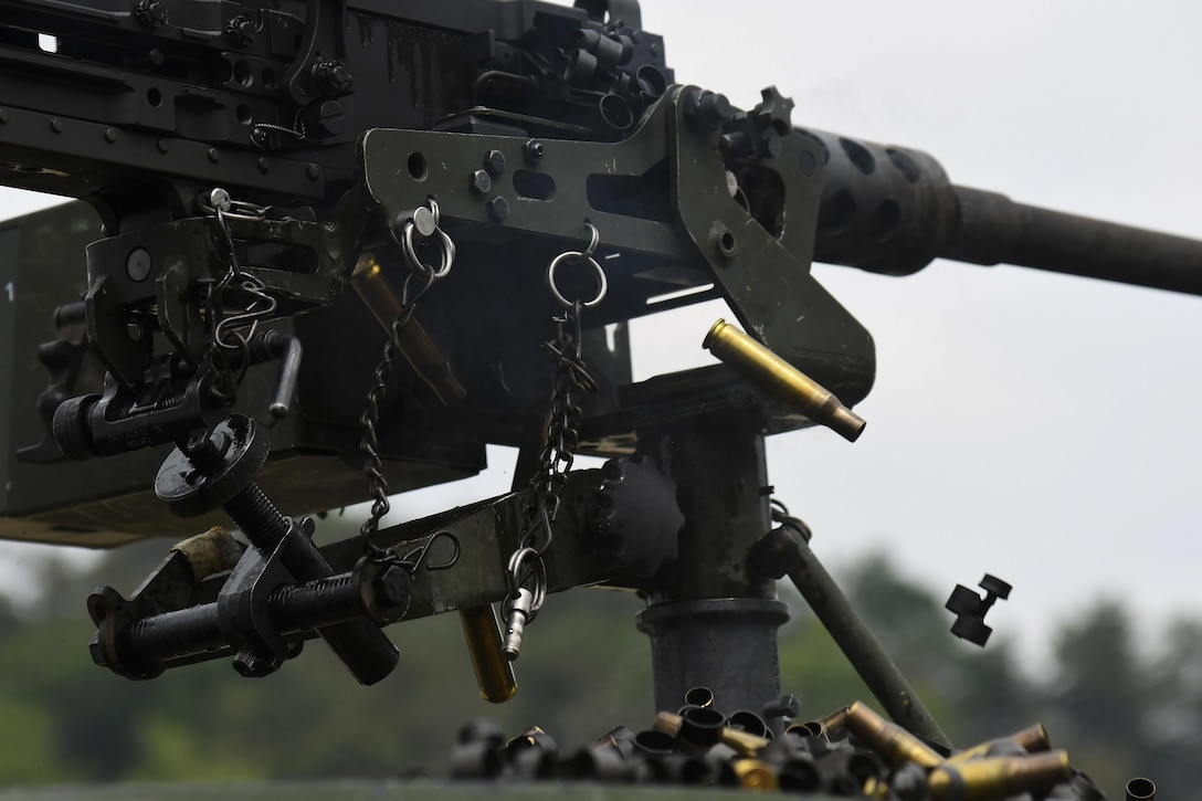 Casings from a M2 machine gun are released during weapons firing at Camp Rodriguez, Republic of Korea, May 23, 2017. This training ensures that defenders are vigilant and ready to 'Fight Tonight.' (U.S. Air Force photo by Airman 1st Class Gwendalyn Smith)