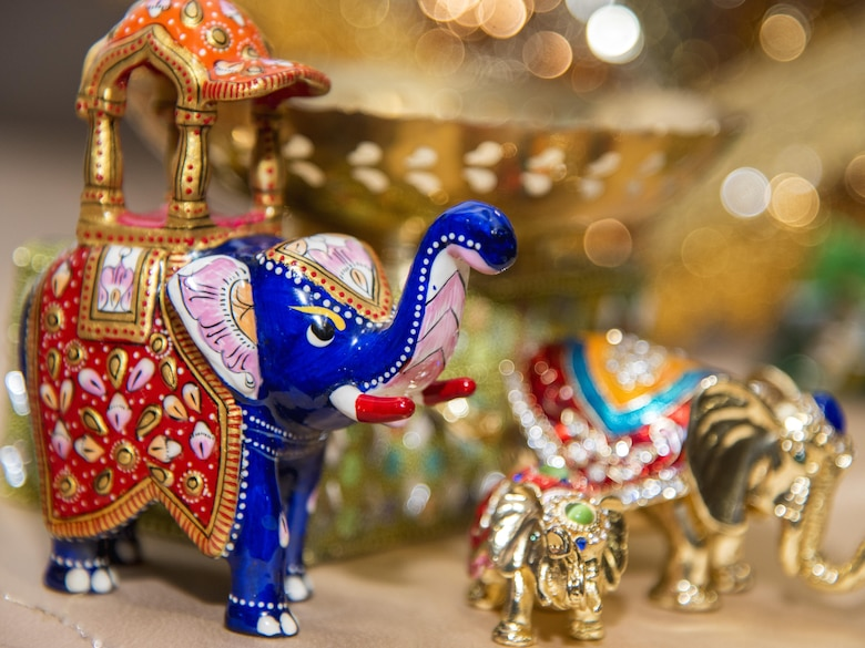 Indian decorations sit on a table during the Asian American and Pacific Islander Heritage Month Culture Show at Joint Base Andrews, Md., May 24, 2017. In Indian culture, elephants are extremely important and are a symbol of mental strength, earthiness and responsibility. (U.S. Air Force photo by Airman 1st Class Valentina Lopez)