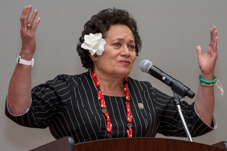 Amata Coleman Radewagen, U.S. congresswoman, gives a speech during the Asian American and Pacific Islander Heritage Month Culture Show at Joint Base Andrews, Md., May 24, 2017. Radewagen is the delegate for the U.S. House of Representatives for American Samoa and is the first American Samoan woman elected to the U.S. House of Representatives. (U.S. Air Force photo by Airman 1st Class Valentina Lopez)