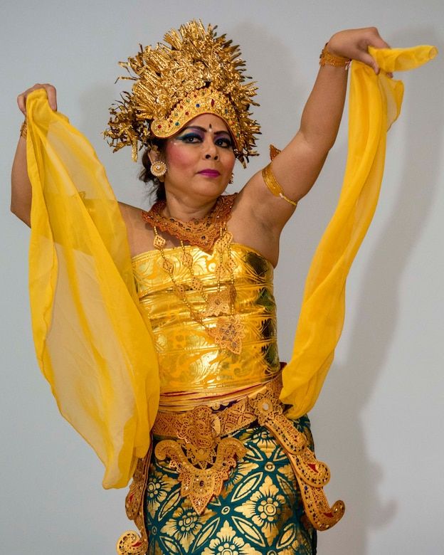 Yuliana Klusmeyer, Balinese dancer, performs during the Asian American and Pacific Islander Heritage Month Culture Show at Joint Base Andrews, Md., May 24, 2017. Balinese dance is a very ancient dance tradition that is part of the artistic expression among the Balinese people of Bali Island, Indonesia. (U.S. Air Force photo by Airman 1st Class Valentina Lopez)