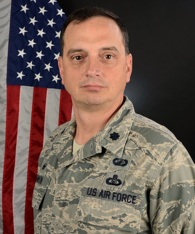 U.S. Air Force Lt. Col. Michael Dunkin, the commander of the 169th Comptroller Flight, at McEntire Joint National Guard Base, S.C., May 17, 2017. (U.S. Air National Guard photo by Megan Floyd)