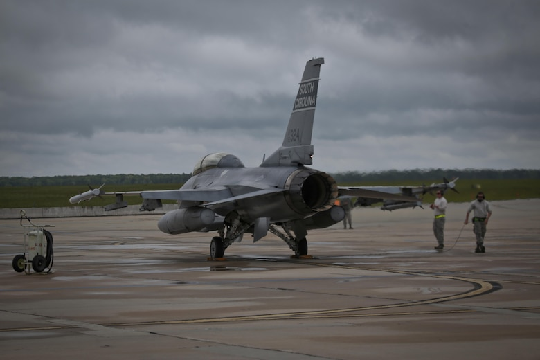 A South Carolina Air National Guard F-16D Fighting Falcon from the 169th Fighter Wing is prepped for a mission during a three-day Aeropsace Control Alert CrossTell live-fly training exercise at Atlantic City Air National Guard Base, N.J., May 24, 2017. Representatives from the Air National Guard fighter wings, Civil Air Patrol, and U.S. Coast Guard rotary-wing air intercept units will conduct daily sorties from May 23-25 to hone their skills with tactical-level air-intercept procedures. (U.S. Air National Guard photo by Master Sgt. Matt Hecht/Released)