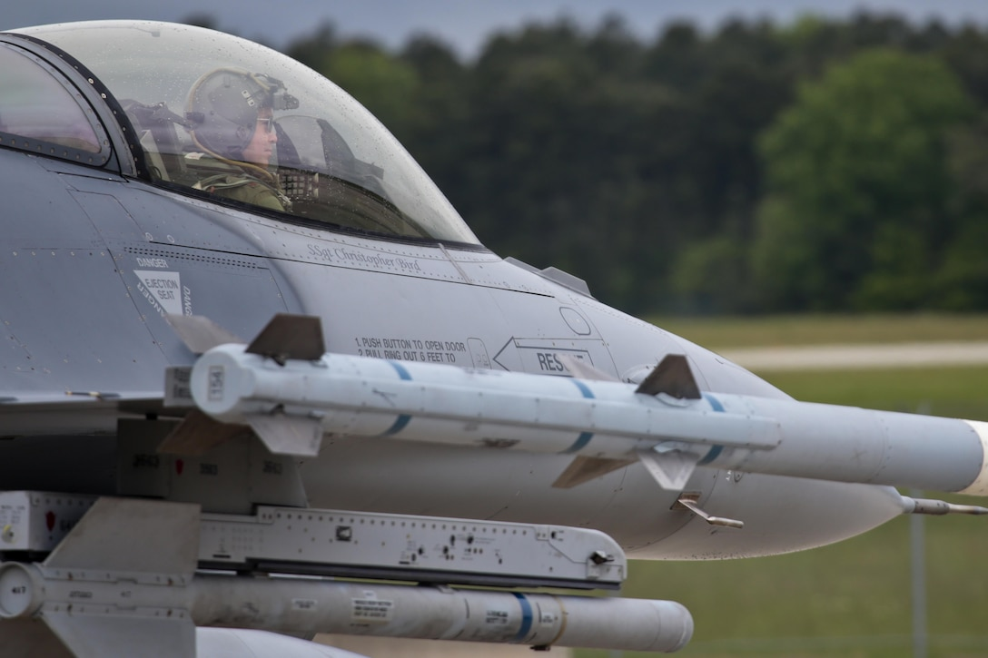 A New Jersey National Guard F-16C prepares for takeoff during a three-day Aeropsace Control Alert CrossTell live-fly training exercise at Atlantic City Air National Guard Base, N.J., May 24, 2017. Representatives from the Air National Guard fighter wings, Civil Air Patrol, and U.S. Coast Guard rotary-wing air intercept units will conduct daily sorties from May 23-25 to hone their skills with tactical-level air-intercept procedures. (U.S. Air National Guard photo by Master Sgt. Matt Hecht/Released)