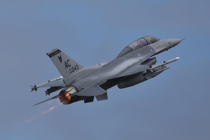A New Jersey Air National Guard F-16D Fighting Falcon from the 177th Fighter Wing takes off for a mission during a three-day Aeropsace Control Alert CrossTell live-fly training exercise at Atlantic City Air National Guard Base, N.J., May 24, 2017. Representatives from the Air National Guard fighter wings, Civil Air Patrol, and U.S. Coast Guard rotary-wing air intercept units will conduct daily sorties from May 23-25 to hone their skills with tactical-level air-intercept procedures. (U.S. Air National Guard photo by Master Sgt. Matt Hecht/Released)
