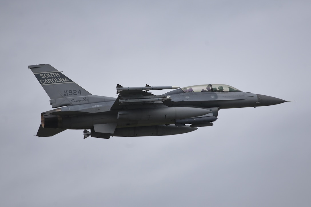 "A South Carolina Air National Guard F-16D Fighting Falcon from the 169th Fighter Wing ""Swamp Foxes"" takes off for a mission during a three-day Aeropsace Control Alert CrossTell live-fly training exercise at Atlantic City Air National Guard Base, N.J., May 24, 2017. Representatives from the Air National Guard fighter wings, Civil Air Patrol, and U.S. Coast Guard rotary-wing air intercept units will conduct daily sorties from May 23-25 to hone their skills with tactical-level air-intercept procedures. (U.S. Air National Guard photo by Master Sgt. Matt Hecht/Released)"