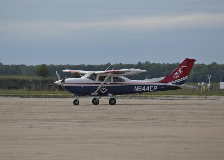 A Civil Air Patrol Cessna 182 taxis after a mission during a three-day Aeropsace Control Alert CrossTell live-fly training exercise at Atlantic City Air National Guard Base, N.J., May 24, 2017. Representatives from the Air National Guard fighter wings, Civil Air Patrol, and U.S. Coast Guard rotary-wing air intercept units will conduct daily sorties from May 23-25 to hone their skills with tactical-level air-intercept procedures. (U.S. Air National Guard photo by Master Sgt. Matt Hecht/Released)