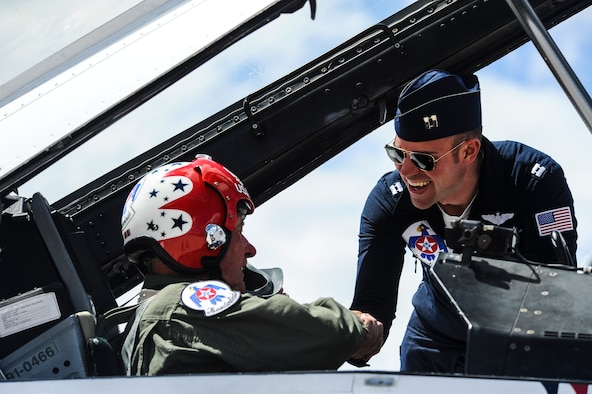 Retired Maj. Paul Lasen, 83, takes the backseat in the cockpit of a U.S. Air Force Thunderbird's F-16D aircraft, May 22, 2017, at Peterson Air Force Base, Colo. Lasen, the oldest-living U.S. Air Force Academy graduate, flew with the Thunderbird's team during its practice run over Falcon stadium before the May 24, 2017, cadet graduation ceremony. (U.S. Air Force photo/Tech. Sgt. Julius Delos Reyes)
