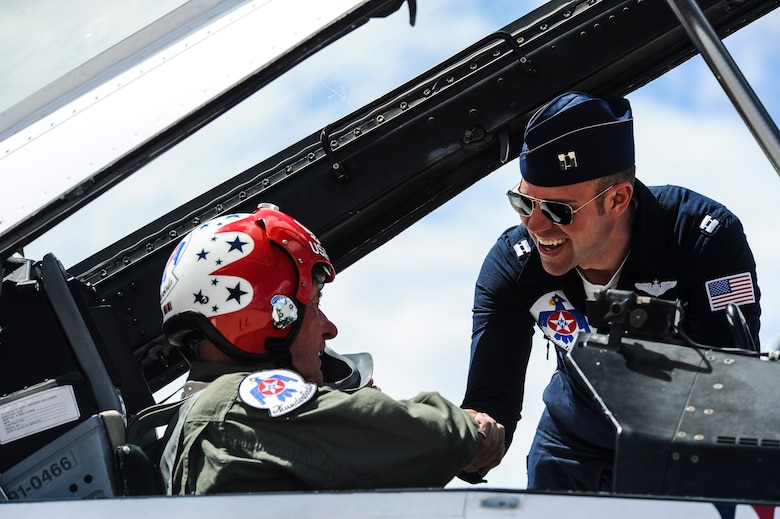 Retired Maj. Paul Lasen, 83, takes the backseat in the cockpit of a U.S. Air Force Thunderbird's F-16D aircraft, May 22, 2017, at Peterson Air Force Base, Colo. Lasen, the oldest-living U.S. Air Force Academy graduate, flew with the Thunderbirds team during its practice run over Falcon stadium before the May 24, 2017, cadet graduation ceremony. (U.S. Air Force photo/Tech. Sgt. Julius Delos Reyes)
