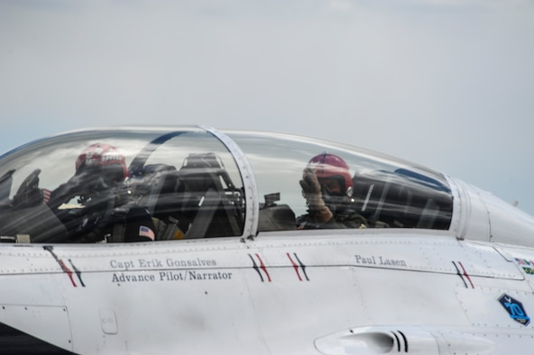 Retired Maj. Paul Lasen (right), a 1959 U.S. Air Force Academy Academy graduate, sits in the backseat of the cockpit in a U.S. Air Force Thunderbird's F-16D aircraft May 22, 2017 while it heads to the runway for take-off at Peterson Air Force Base, Colorado. Lasen, 83, is the oldest-living graduate of the Academy. (U.S. Air Force photo/Tech. Sgt. Julius Delos Reyes)
