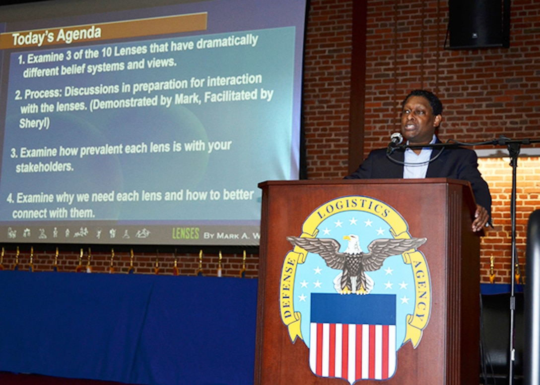 "Defense Logistics Agency's Equal Employment Opportunity and Diversity Office sponsored a quarterly diversity and inclusion training event titled ""The 10 Lenses,"" May 25, 2017 in the Lotts Conference Center, on Defense Supply Center Richmond, Virginia. Mark Williams, a Monster Government Solutions employee facilitated the training event demonstrating various ways to connect with others and internal and external customers, while leveraging diversity to increase productivity, innovation, and carry out the mission."